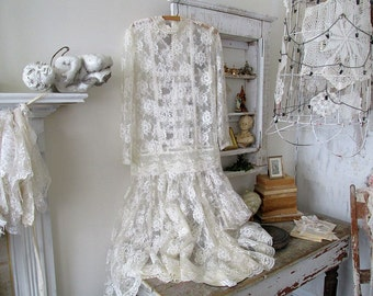 Vintage lace dress ivory drop waist style romantic shabby French chic wall hanging home decor wedding or photography prop anita spero design