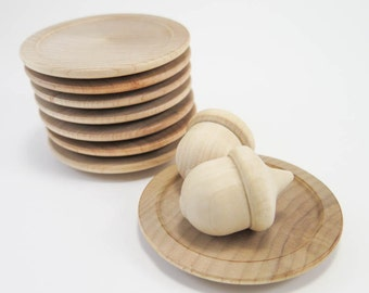 Miniature Wood Plates | Unfinished Wooden Plates, Small Wood Plate for Play Kitchen, Candle Holder, Waldorf or Montessori Play, Nature Table