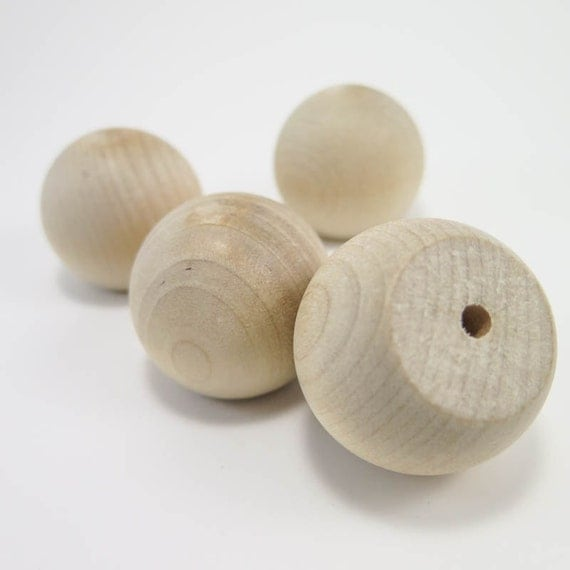 Items Similar To 4 Wooden Knobs 1 5 Inch Wood Ball Knob Unfinished Wood Drawer Pull