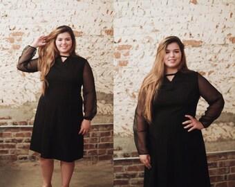 Vintage 1960s plus size Puritan Forever Young black dress w/ sheer long sleeves / mad men / megan draper /  zou bisou