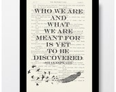 William Shakespeare Who we are and what we are meant for is yet to be discovered, approximatly 7x10 Vintage Shakespeare book page