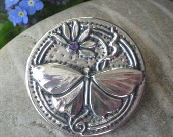 Round Amethyst Pewter Butterfly Brooch