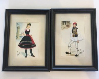 Framed Greek Crochet Postcards Embroidery Grecian Pair