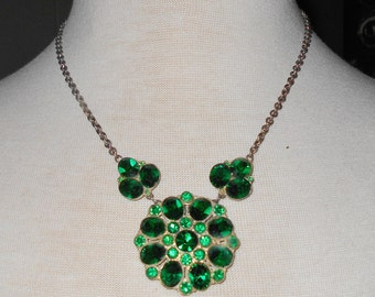1900s Emerald paste necklace Antique Art Deco jewelry silver  or silver pot metal