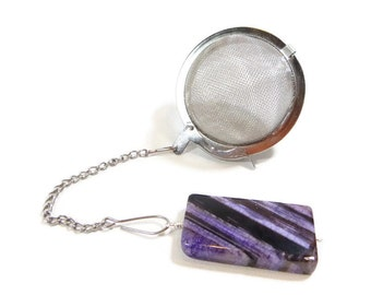 Tea Infuser with Purple and Black Agate