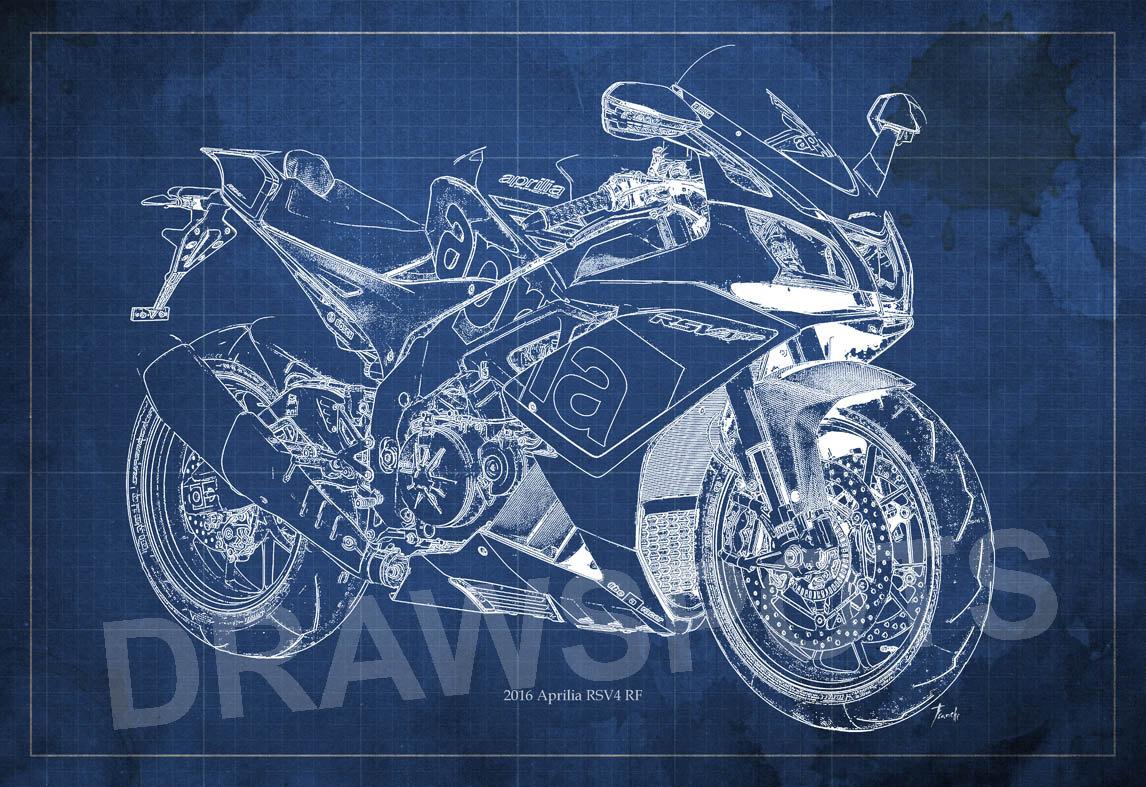 Aprilia Rsv4 Rf Blueprint Art Print 8x12in And Larger