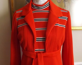 Mod,Retro, Melissa Lane Vintage 70s Sleeveless Red Maxi Dress with Matching Tie Jacket/ Spring/Summer Party