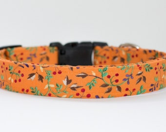 Spring Orange Dog Collar - Floral