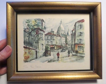 Two Charming Paris Street Scene Prints by Zoe, Professionally Framed, Mid-Century