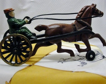 Cast Iron Horse and Jockey Antique Ironwork art Horse and Buggy
