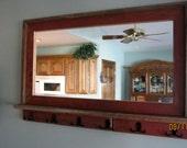 RESERVED for Scott  --  Barnwood Window Mirror with Shelf & 3 Hooks