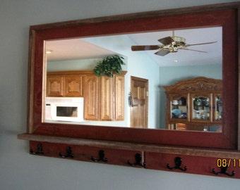 Barnwood Window Mirror with Shelf & 6 Hooks