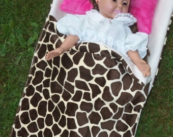 American Girl Doll, Sleeping Bag,Generation Doll, 18'' Doll s, Fall Fun Sleeping Bag, Giraffe Fabric Bag