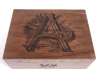 Floral Monogram Wood Keepsake Box (multiple letters available)