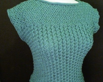 Sage Green Summer Vest, green hand knitted top, green cap sleeve sweater, lace and cable vest, UK 14/16, ready to ship