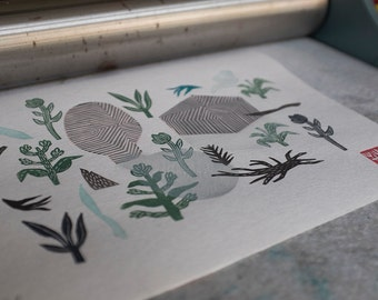Zen Garden IV. original linocut monotype print, geometric tribal art