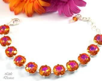 Orange Hot Pink Swarovski Bracelet Fuchsia Orange Chunky Bracelet Swarovski 12mm Cushion Cut Crystal Statement Jewelry Link Bracelet APBR
