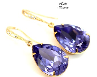 Purple Earrings Tanzanite Crystal Earrings Swarovski Bridal Earrings Bridesmaid Earrings Lavender Earring Lilac Earring Purple Jewelry TZ31H