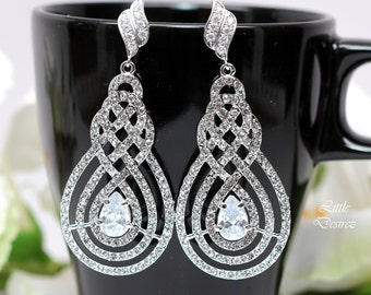 Crystal Chandelier Earrings Crystal Bridal Earrings Bridal Jewelry Crystal Wedding Jewelry Pavè Earrings Cubic Zirconia Jewelry INFINITY