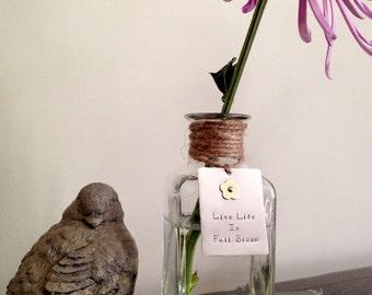 "Hand-stamped ""bloom"" tag with brass flower, graduation, housewarming or teacher gift, glass bottle, bud vase, nickel silver & brass"