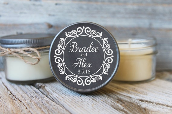 Set of 12 - 4 oz Candle Wedding Favor - Soy - Personalized Wedding Favors // Chalkboard Wedding Favors/Bridal Shower Favor