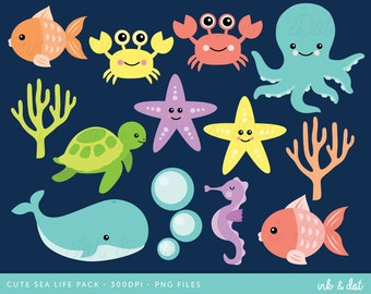 Ocean Clip Art, Sea Life Clipart, Whale Clipart, Crab, Fish, Starfish, Bubbles, Sea, Turtle - Commercial & Personal - Instant Download