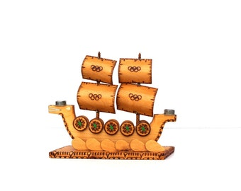 Viking ship Viking home decor Viking candle holder Vintage wooden candle holder Olympics collectibles Olympic games collectible