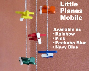 Little Planes Scrap Wood Airplane Mobile - Available in Rainbow, Pink, Peekabo Blue or Navy Blue