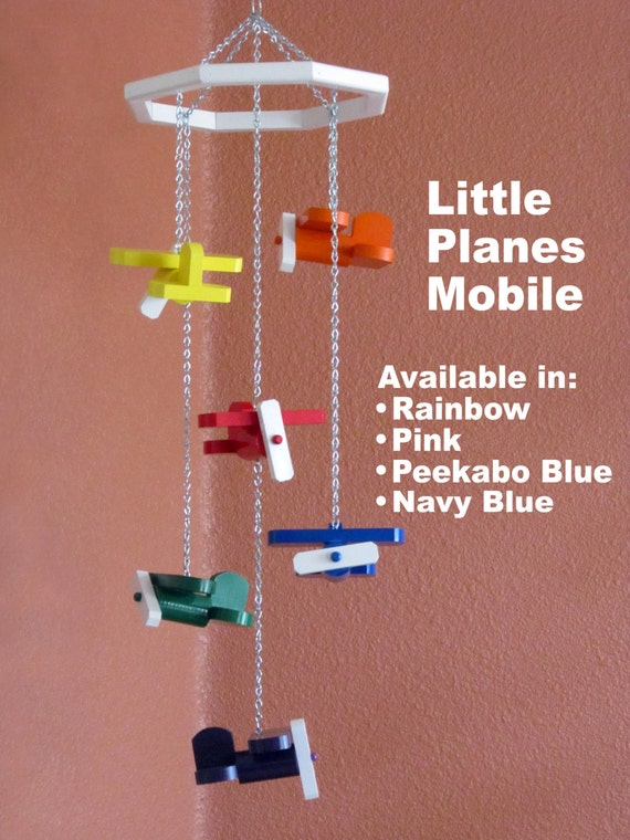 Little Planes Scrap Wood Airplane Mobile - Available in Rainbow, Pink ...