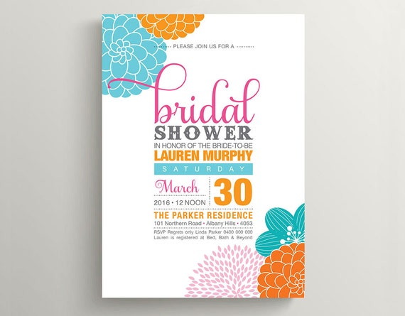 Printable Bridal Shower Invitation \\ Floral Invitation in Pink, Teal and Orange Colours (BR08)