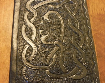 Tooled Leather Snake Book/Journal/Sketchbook (blank), 400pg, Black, Flapless