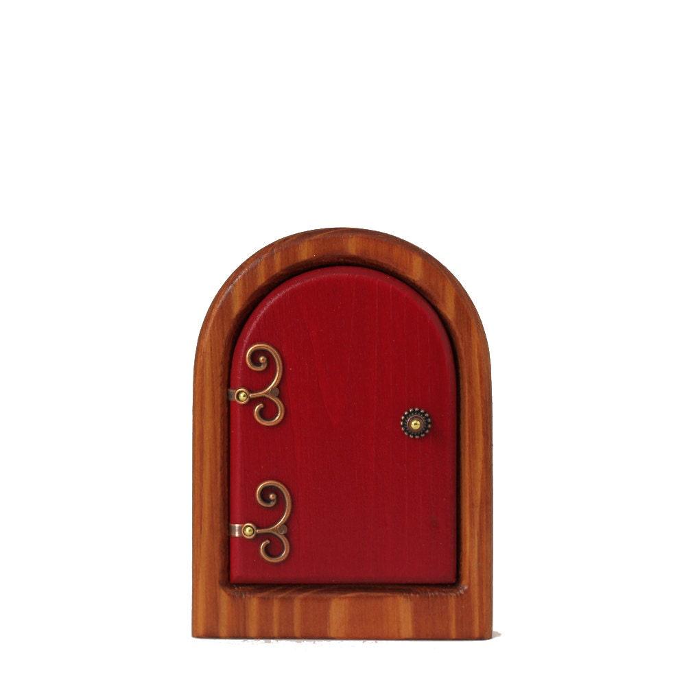 Little red fairy door for home and garden by sugarbushfairies for Red elf door