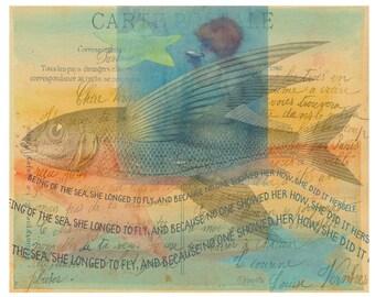Whimsical Beach Mermaid Flying Fish Inspirational Collage Art Seashore  Glicee Print 8x10 16x20 - She Longed to Fly - Korpita ebsq