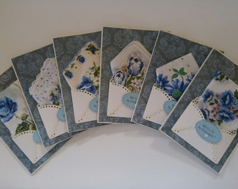 Bridesmaid Gift Thank You Vintage Wedding Handkerchief Lot Serenity Blue Keepsake Gift Hanky Accessory Card