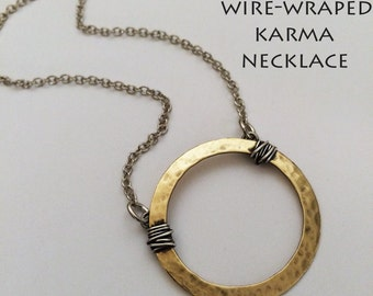 Eternity Circle Necklace, Wire Wrapped Hoop Necklace, Hammered Brass Necklace, Karma Necklace  RP0637