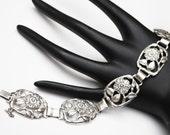 Coro Craft Sterling Floral Link Bracelet
