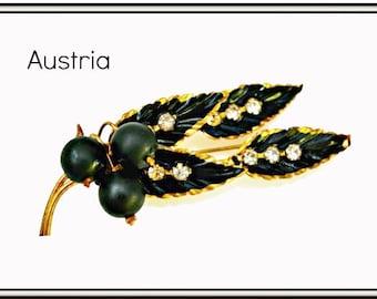 Austria Leaf Brooch - Rhinestone - Gold metal   Black Enamel - crystal Leaf Pin