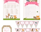 Cute Woodland Friends Forest Animals Girls Theme Baby Shower or Birthday Party Set- Printable File