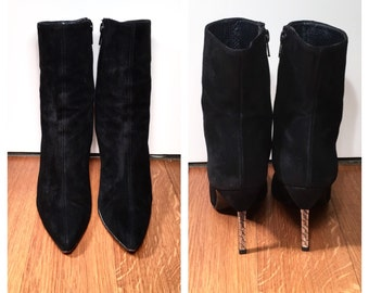 Size 7 1/2 Black Stuart Weitzman Booties Vintage Black Suede Ankle Boots High Heel Midi Boots Sock Boots Silver Heeled Ankle Booties