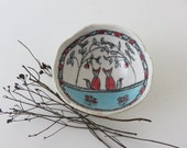Tiny illustrated ceramic bowl