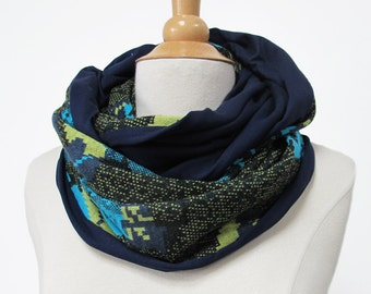 infinity scarf flowered loop circle Jersey handmade fabric turquoise black blue shawl