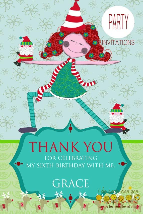Christmas Yoga Party Invitation & Thank you note custom