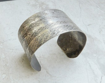 Feather Pattern Etched Silver Cuff Bracelet, Handmade Metalwork Cuff, Wide Sterling Silver Cuff, Fine Nature Jewelry, Contemporary Cuff