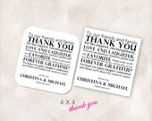 4X4 Wedding reception thank you place setting cards black ink Instant Download printable Just add your info and print!