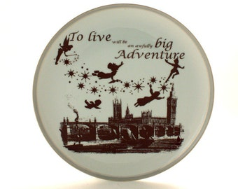 SALE Altered  Peter Pan Platter Porcelain Dreams Barrie London England White Brown Romantic