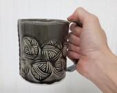 Yarn Ball pattern Mug - solid grey - hand built pottery