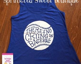 Blue Tank White Glitter No Crying in Baseball Tank Top Custom Baseball Shirt Girls Womens Custom Matching Moms shirts