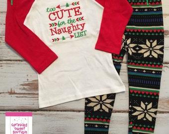 Too Cute For The Naughty List Applique Christmas Holiday Custom Shirt Girls Raglan Baseball Shirt Only Matching Leggings Available