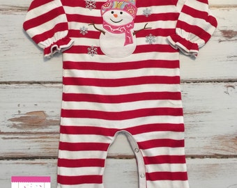 Christmas Red and White Stripe Ruffle Girls Holiday Ruffle Romper Custom Pick Any Monogram or Applique First Christmas Outfit