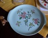 Vintage Universal Potteries Ballerina Tab Handled Cake/Bakery Serving Plate-Pink Floral-Green